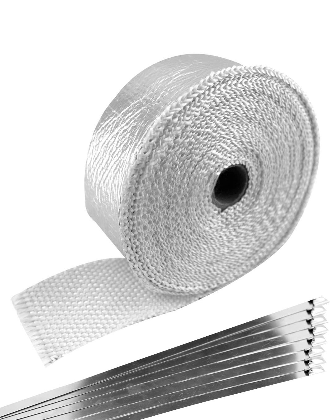 SWI Parts 2' x50ft Aluminized Fiberglass Exhaust Header Wrap Pipe with 8 Stainless Steel Zip Ties SW INDUSTRIAL