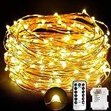 TOPLIFE Cadena de Luces, 10M 100 LED Guirnalda de Luces Impermeable Alambre de Cobre de 8 Modos de Luz con Control…