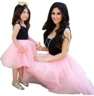 a1d37d34b Mother Daughter Family Matching Dress Sleeveless Slim Top Knee Length Lace  Mini Princess Party Dress Outfits