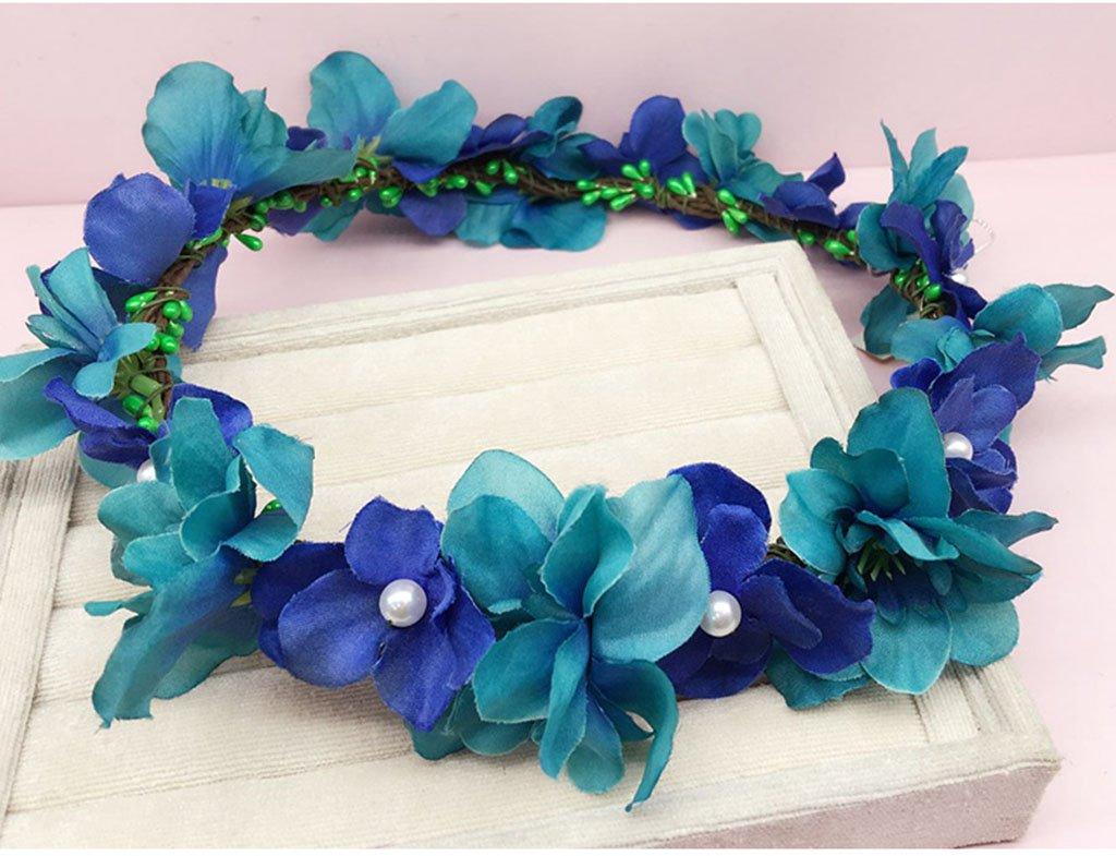 Wreath Flower, Headband Flower Garland Handmade Wedding Bride Party Ribbon Headband Wristband Hairband Purple/White (Color : B)