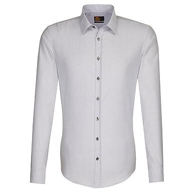 Seidensticker Herren Langarm Hemd UNO Super Slim Stretch grau / weiß  strukturiert 573280.34 (44,