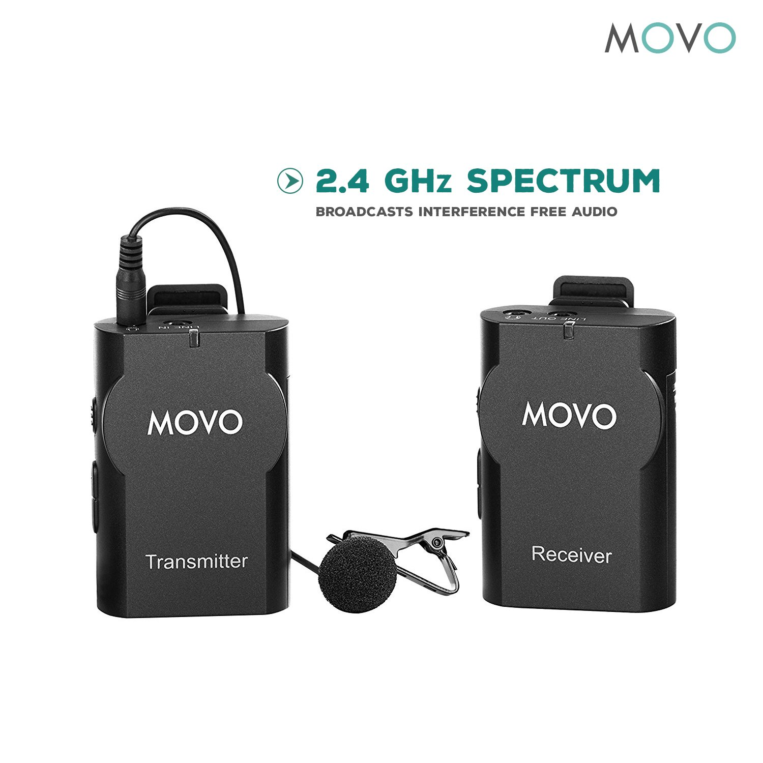 Movo WMIC10 2.4GHz Wireless Lavalier Microphone System for DSLR Cameras, iPhone/iPad/Android Smartphones, Camcorders (50-foot Transmission Range) by Movo (Image #6)