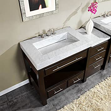 56u0026quot; Integrated Marble Stone Top And Sink Bathroom Vanity Cabinet  Furniture 218W