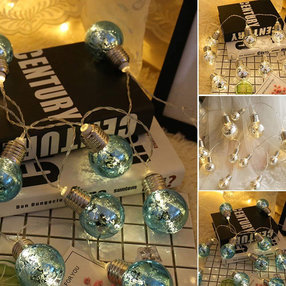 LED Fairy String Lights, LED Ball String Lights, Indoor Outdoor Xmas Lights Globe Fairy String Lights Starry Lights, for Garden, Home, Wedding 1.5/2/3/5m(1.5m 10 Bulbs,Colorful Light+blue Bulbs) by Ragdoll50 (Image #9)