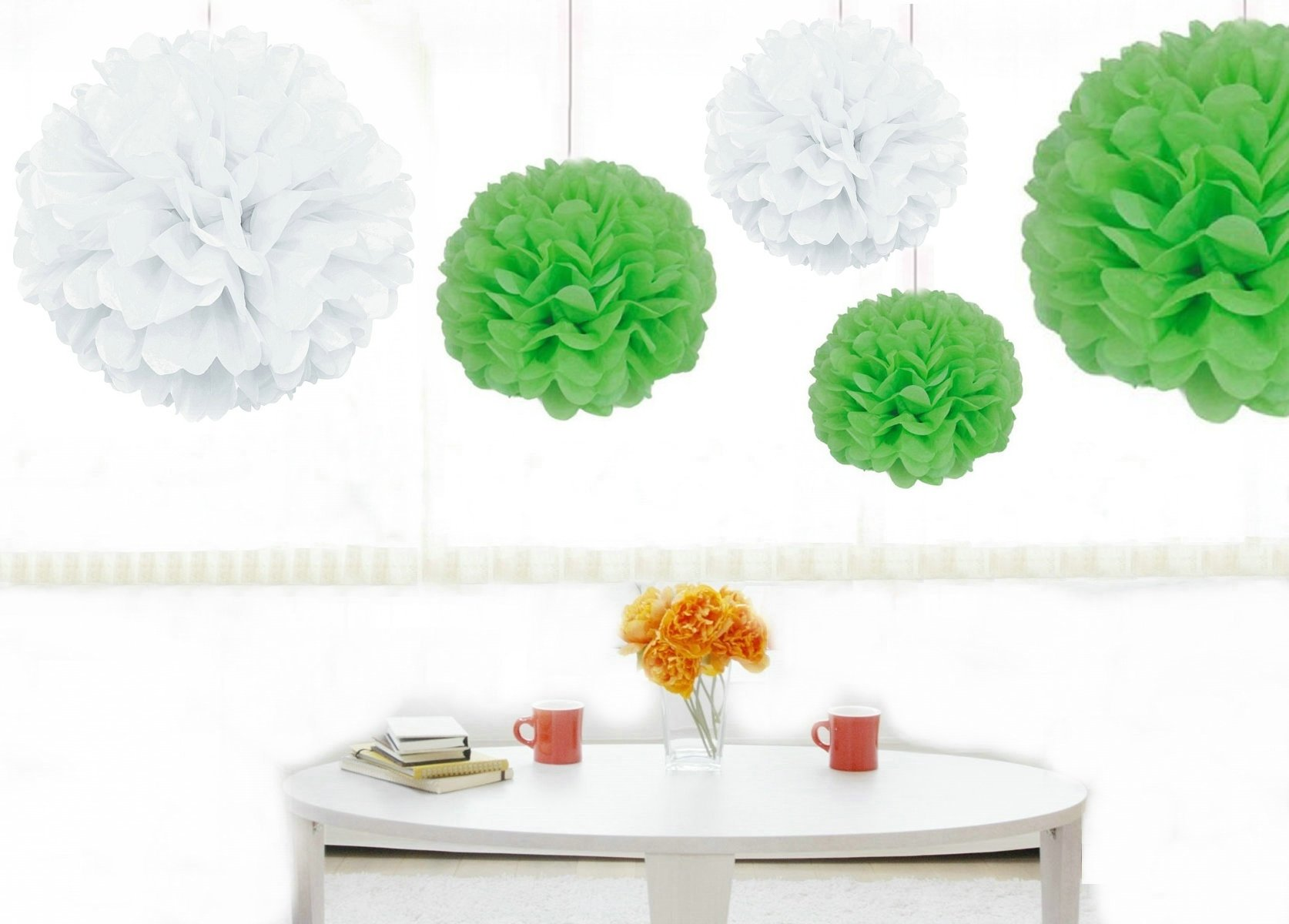 Kubert® 12PCS 8'' 10'' 14'' Mixed Size White Mint Green Party Tissue Pom Poms Wedding Birthday Party Girls Room Decoration - Pom Poms Ball Blooms Tissue Paper Flowers - Celebration Party Hotel House Room Wedding Decoration - Vintage Hanging Lantern