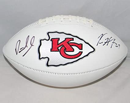c438c56ed Image Unavailable. Image not available for. Color  Patrick Mahomes Kareem  Hunt Autographed Signed Kansas City Chiefs White Logo Football JSA