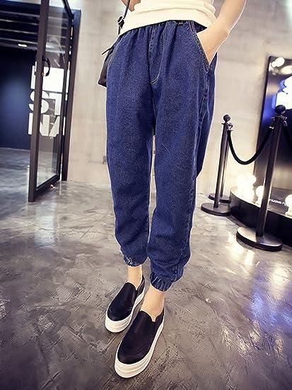 LaoZan Women Loose Fit Jeans With Elastic Waist Harlan Denim Pants Trousers:  Amazon.co.uk: Clothing