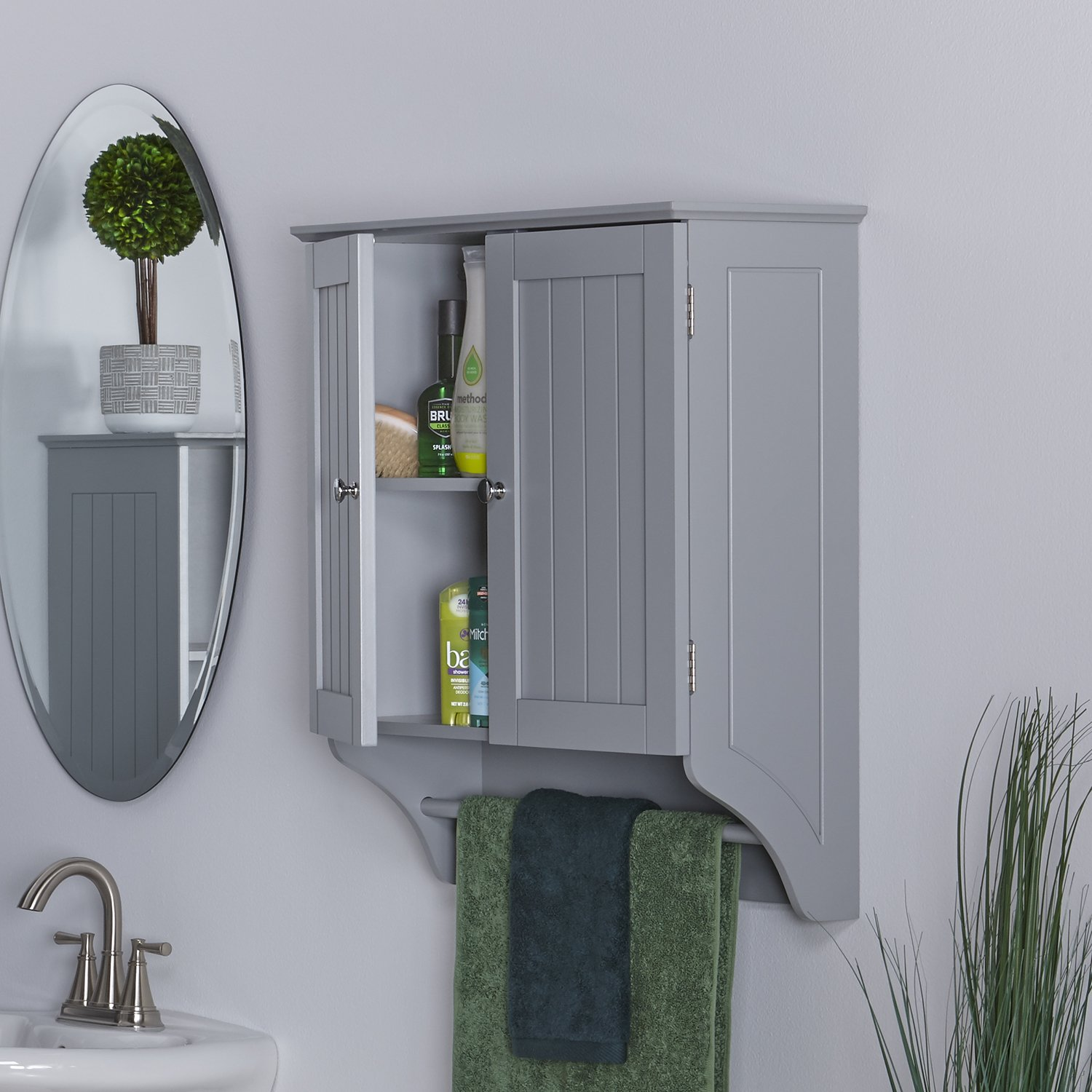 2-Door Over the Toilet Wall Cabinet, Hide Toiletries and Other Bathroom Items Behind Doors for a Clean Presentation, Мirrored Кnobs, Wood, Multiple Colors + Expert Guide