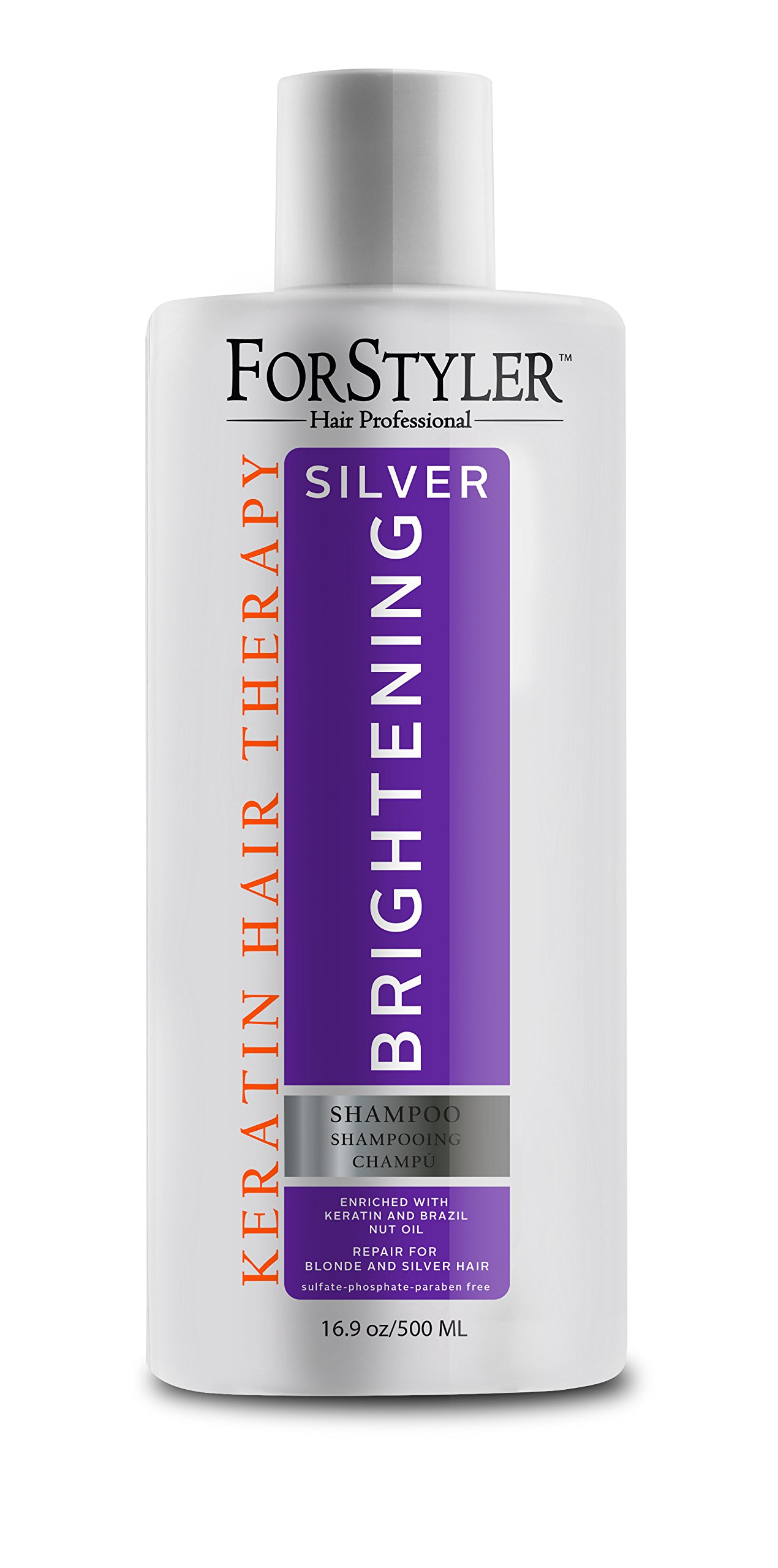 ForStyler- Silver Brightening Shampoo, repair for Blonde and Silver Hair 16.9oz/500ml