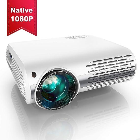 Vidéoprojecteur, YABER 6500 Lumens Video Projecteur Full HD 1080P (1920 x 1080) Retroprojecteur avec Réglage Trapézoïdal 4D, Soutien 4K, Projecteur LED Compatible VGA HDMI AV USB pour Home Cinéma