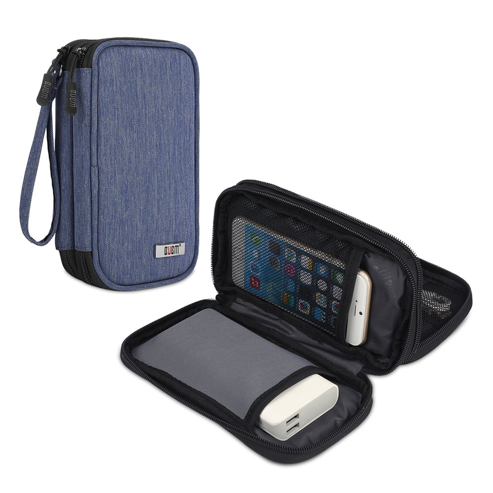 BUBM Travel Electronics Organizer, Carrying Pouch for Power Bank, Phone, Wall Charger, USB Cables and Other Phone Accessories, Denim Blue