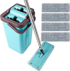 JAR-OWL Flat Floor Mop and Bucket Set for Home Floor Cleaning, Hands Free Floor Flat Mop, Stainless-Steel Handle, 4 Washable & Reusable Microfiber Pads