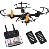 Drone with 720P HD Camera Live Video,JJRC H72 Rc Drone for Kids,16mins(8mins+8mins) Flying Time,APP Control FPV Real Time Transmission Quadcopter for Beginners,Altitude Hold,Throw to Fly (Black)