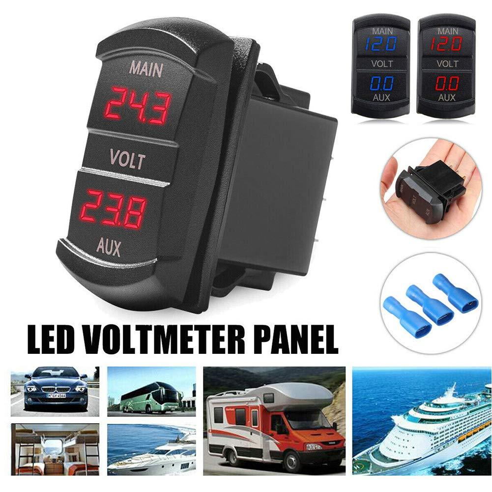 Scelet Moniteur de batterie double tension voltm/ètre indicateur daffichage /à LED bateau de voiture 12V-24V