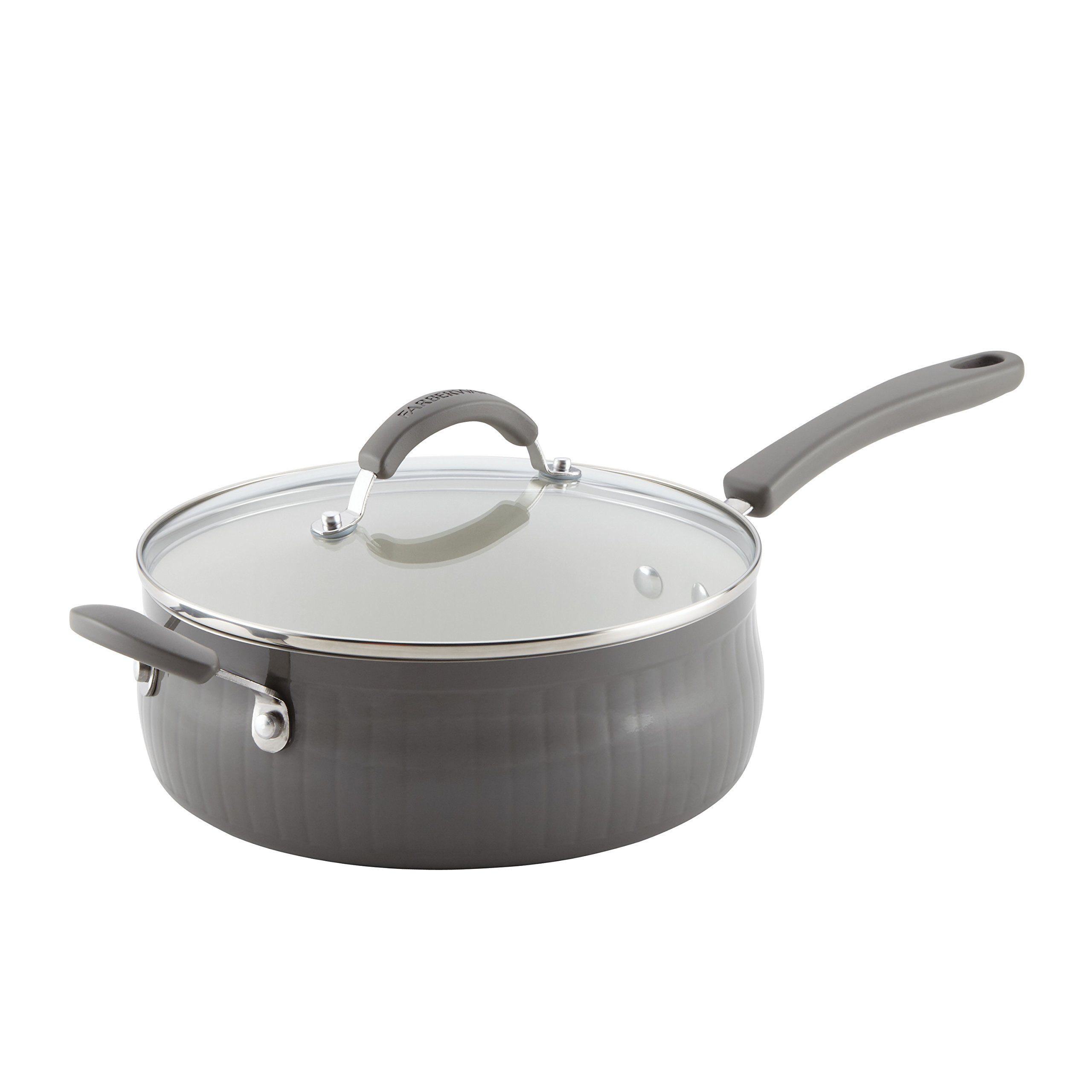 Farberware 16432 New Traditions Aluminum Nonstick Covered Saute with Helper Handle, 4 quart, Gray