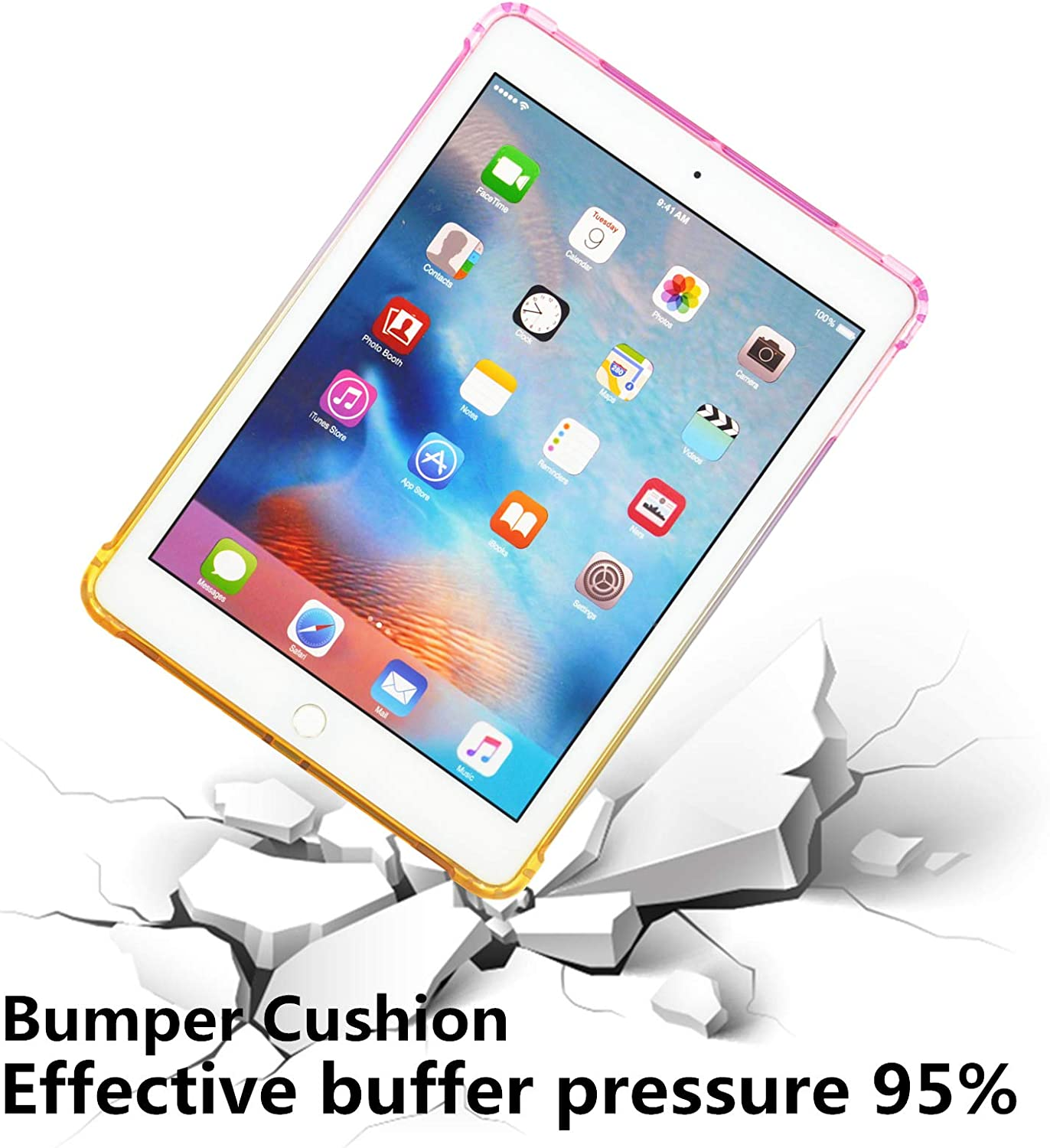 Case for New iPad 7th Generation 10.2 2019 Pink//Yellow Uliking Gradient Colorful Skin Slim Lightweight Shockproof Flexible Soft TPU Protective Clear Case Fit iPad 10.2-inch Retina Display 2019