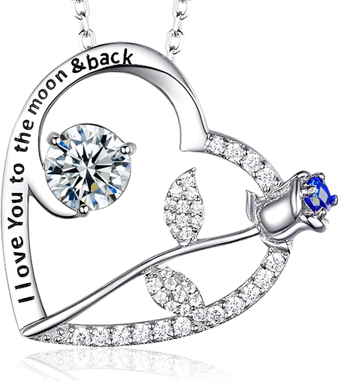 Solid 14k White Gold April Synthetic Simulated Birthstone Heart Pendant Charm