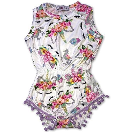 aad6b763cfb1 Amazon.com  Sol Baby Silver Unicorn Print Pom Pom Trim Romper  Clothing