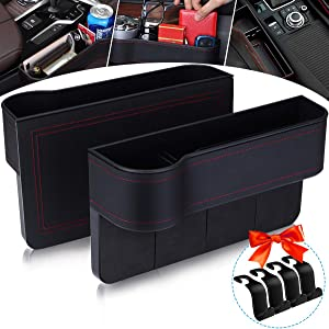 Jeteven Car Seat Gap Pocket Side Seat Organizer PU Leather Car Filler Storage Box with Cup Holder 2 Packs Car Gap Holder Crack Catchers