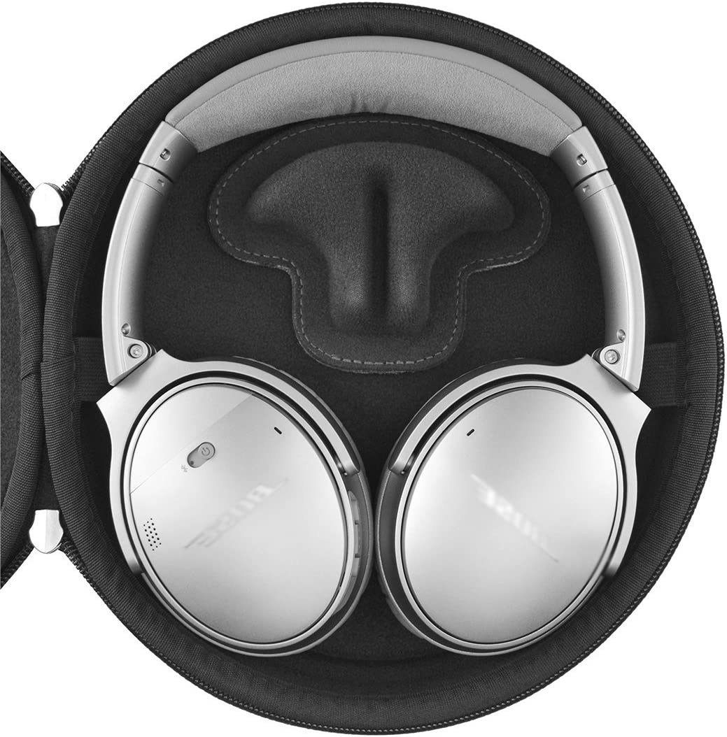 QC25 QC15 // Hard Shell Headset Carrying Case//Protective Travel Bag with Space for Cables Charger and Accessories Geekria UltraShell Compact Headphones Case for Bose QuietComfort QC35 Gray