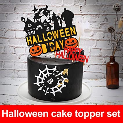 Remarkable Halloween Pumpkin Large Cake Topper Set Spooky Haunted House Cake Funny Birthday Cards Online Inifofree Goldxyz