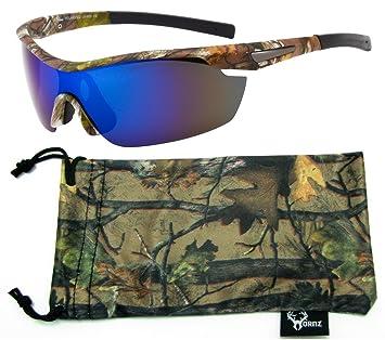 Hornz Brown Camuflaje del Bosque polarizados Gafas de Sol para los Hombres del Abrigo Alrededor del Marco de Deporte y Que Coinciden con Bolsa de ...