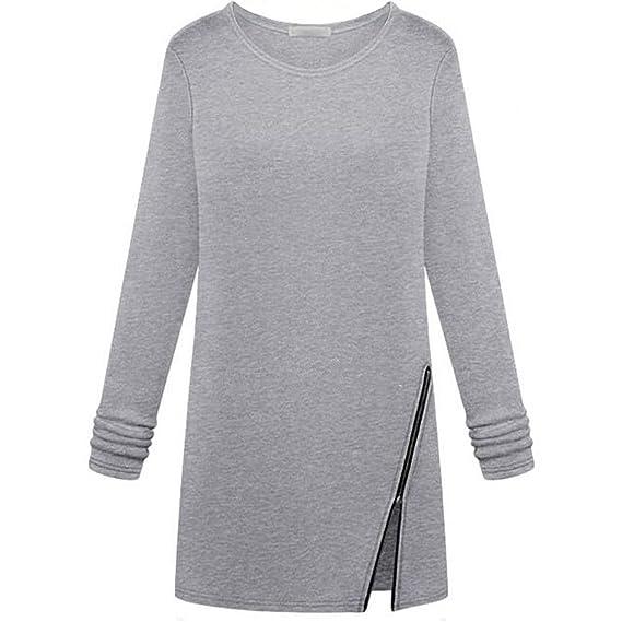 TOOGOO Blusa Tops de Moda para mujer Camisa delgada de manga completa O-cuello cremallera