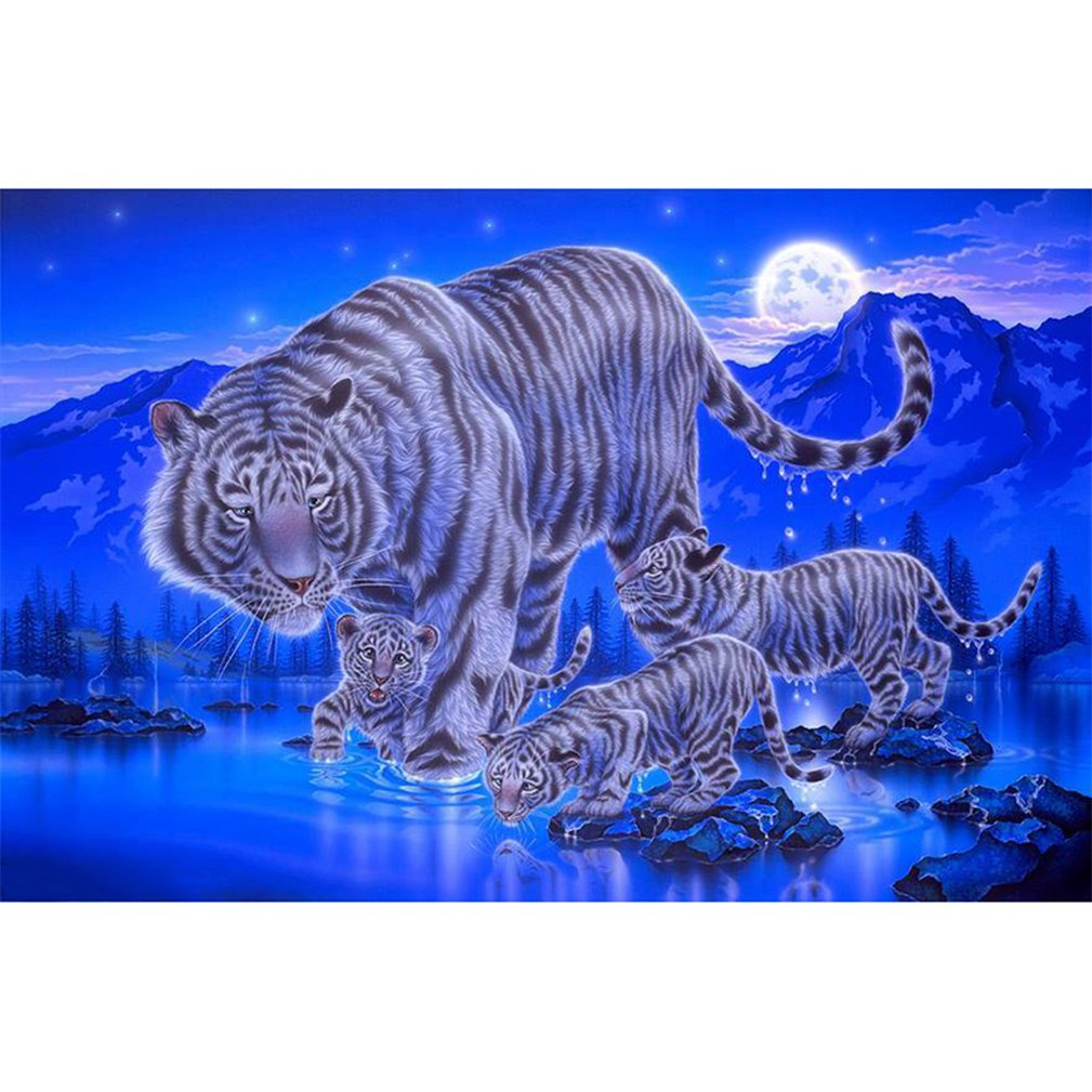 Beiguoxia 5D Full Diamond Painting Animal Moon ricamo a punto croce DIY Handmade Home Decor, 004, taglia unica