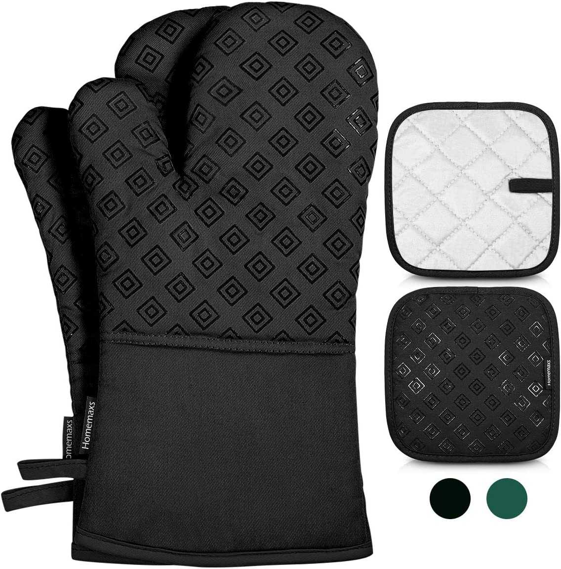 Homemaxs Oven Mitts and Pot Holders 4pcs Set, 500℉ Heat Resistant Non-Slip Food Grade Kitchen Mitten Silicone Cooking Gloves s for Kitchen, Cooking, Baking, BBQ-Black: Home & Kitchen