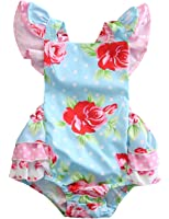 Baby Girls' Full Flower Print Buttons Ruffles Romper Bodysuit with Headband
