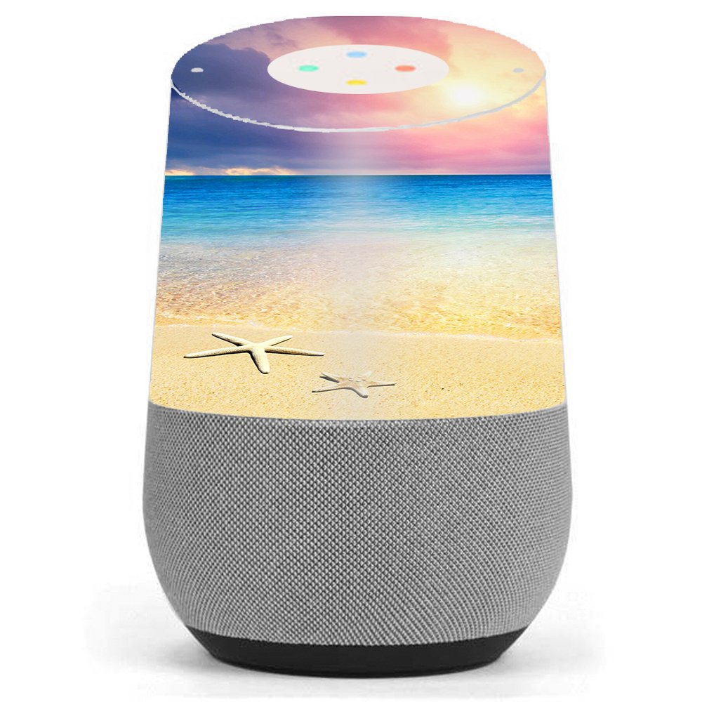 Skin Decal Vinyl Wrap for Google Home stickers skins cover / Starfish on the sand Beach Sunset