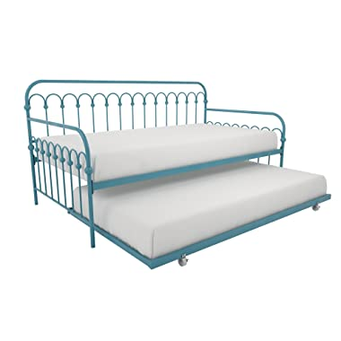 Novogratz Bright Pop Twin Metal Daybed and Trundle, Stylish & Multifunctional, Built-in Casters, Blue Turqouise