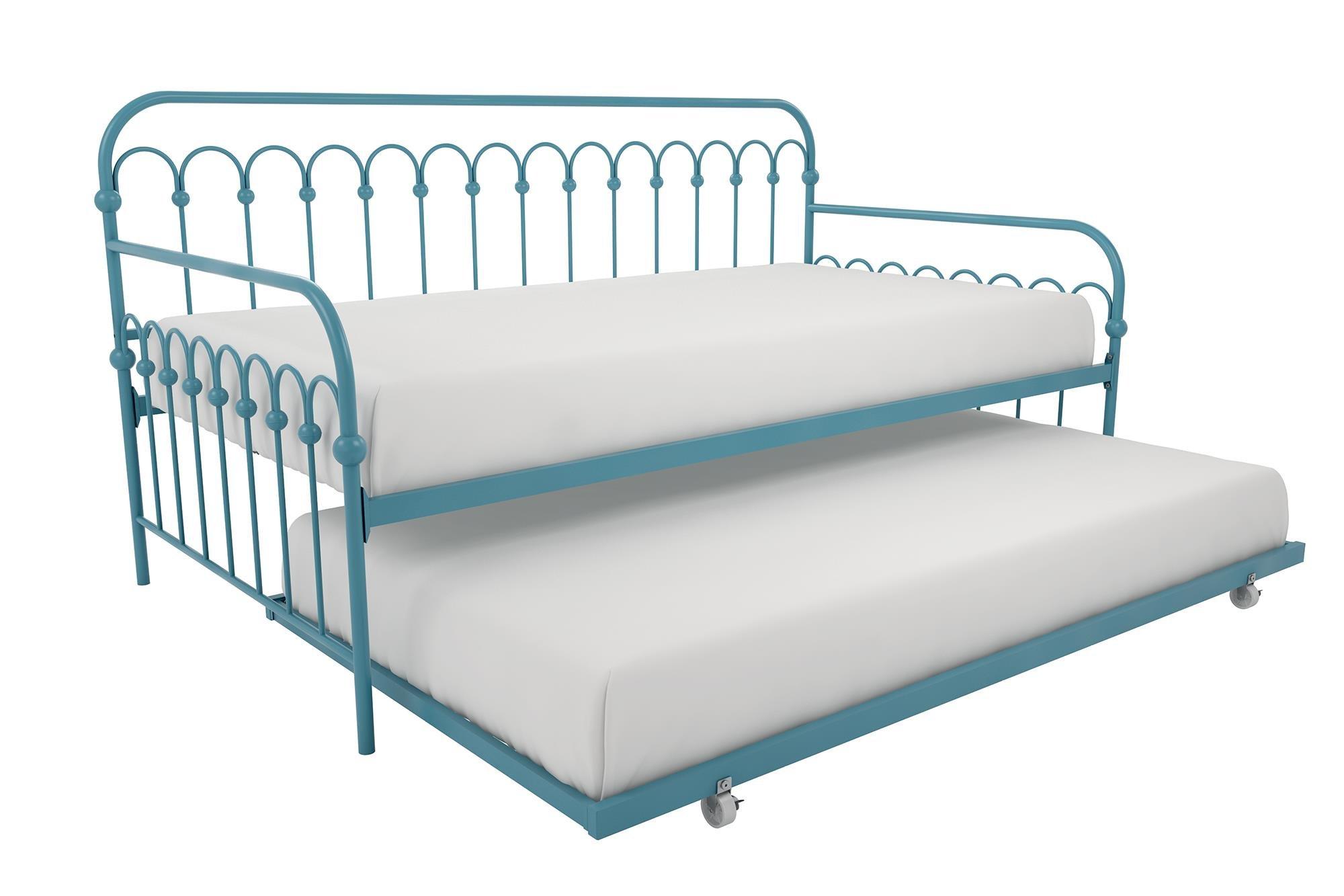 Novogratz Bright Pop Metal Bed, Adjustable Height for Under Bed Storage, Slats Included, Twin Size Frame, Blue Turquoise