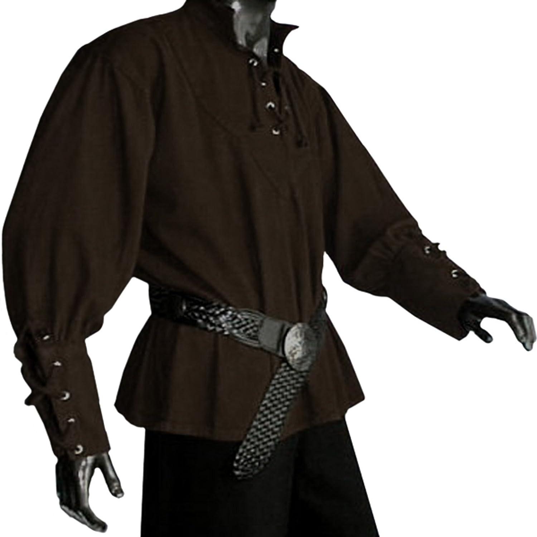Medieval Pirate LARP Mens Shirt, Brown