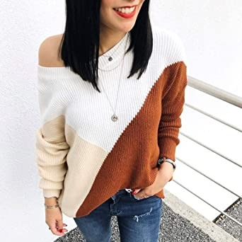 Most Wished! Teresamoon Women Colorblock Strapless Long Sleeve Knitted Sweater Jumper Pullover Blouse at Amazon Womens Clothing store: