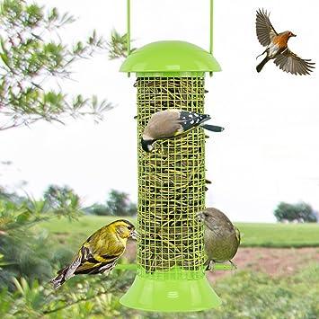 LFF.FF Alimentador De Pájaros Al Aire Libre Guía De Aves Jardín Balcón Producto Al Aire Libre Recolector De Comida De Aves Comedero para Pájaros Alimentando El Comedero Metal,Green: Amazon.es: Deportes y aire