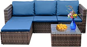 Viewee 5 Pieces Patio Furniture Sets, Manual Weaving Wicker Sectional Sofa with Coffee Table & Washable Cushions, Various Combination Styles, All-Weather Outdoor Conversation Set
