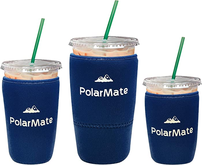 3 Pack Reusable Iced Coffee Sleeve | Insulator Cup Sleeve for Cold Drinks Beverages | Neoprene Cup Holder | Ideal for Starbucks, McDonalds, Dunkin Donuts & More (Navy Blue)