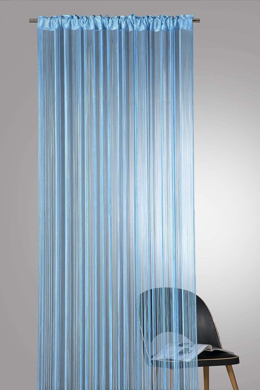 Heimtexland Type 121 Rideau de fils de qualit/é sup/érieure avec bande passe-tringle Peut /être raccourci Certifi/é /Ökotex Diff/érentes couleurs et tailles au choix HxB 160 x 148 cm Polyester bleu