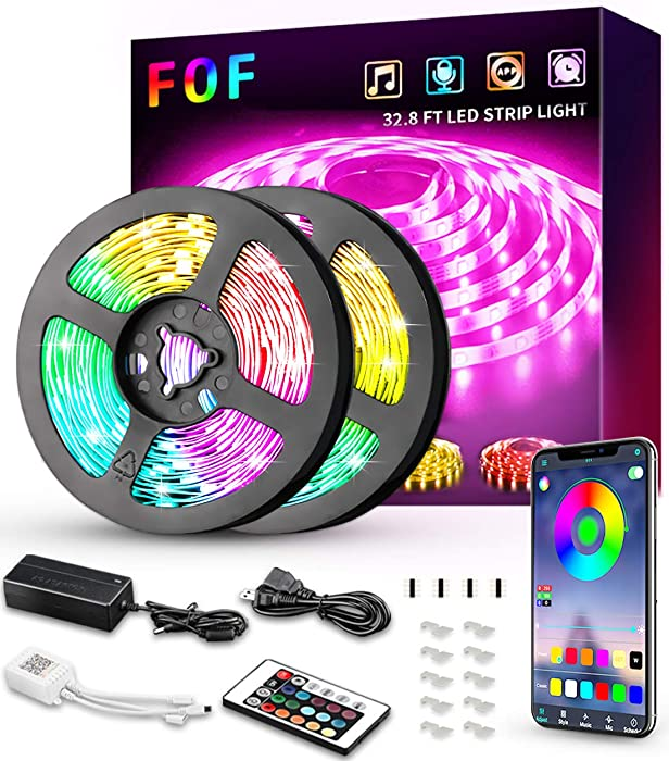 LED Strip Lights, FOF 32.8ft RGB LED Light Strip 300 LEDs 5050 LED Tape Lights with Remote, Bluetooth APP Controlled Music Sync Color Changing LED Strip Light for Home Lighting Kitchen Room Decoration