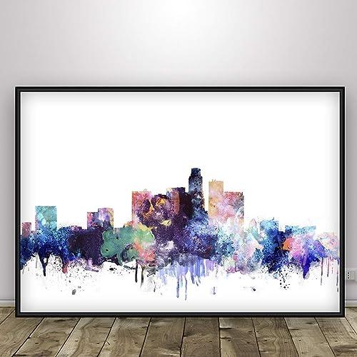 kcik1885 Full Color Wall decal Watercolor Los Angeles city skyline living room bedroom