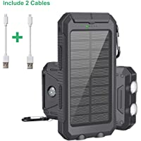 Cargador Solar Portátil 10000mAh,Batería Externa Solar de Carga Rápida con 2 Puertos USB y LED Ligeros para iPhone Android iPad, Powerbank solar para Movil,Camping, Actividades al Aire Libre
