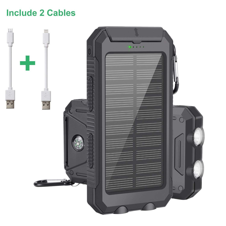 Cargador Solar Portátil con 10000mAh, Batería Externa Power Bank con...