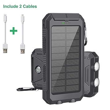 Cargador Solar Portátil con 10000mAh, Batería Externa Power Bank con 2 LED Ligeros, 2 Puertos de Carga USB de Alta Velocidad para iPhone, iPad, ...