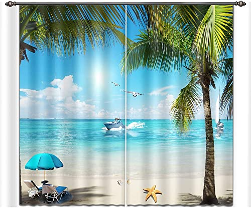 LB Tropical Beach Window Curtains Drapes for Living Room Bedroom,Blue Sky Clear Water Green Palm Tree Leisure Beach Teen Kids Room Decor 3D Blackout Curtains 2 Panels,28 by 65 inch Length