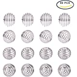 PandaHall Elite About 50Pcs Iron Wrap-around Spiral Round Bead Cages in a Box for Pendants Making with Diameter 10-15mm Silver