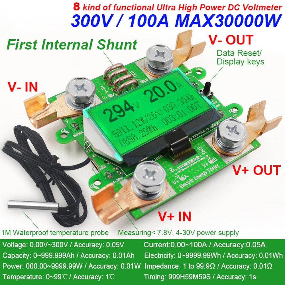 Yoochin 0 300v 100a Dc Digital Voltmeter Ammeter Voltage Meter Car Cr7 Green Battery Capacity Measurement Volt Current Wattmeter Detector Power Supply Tester