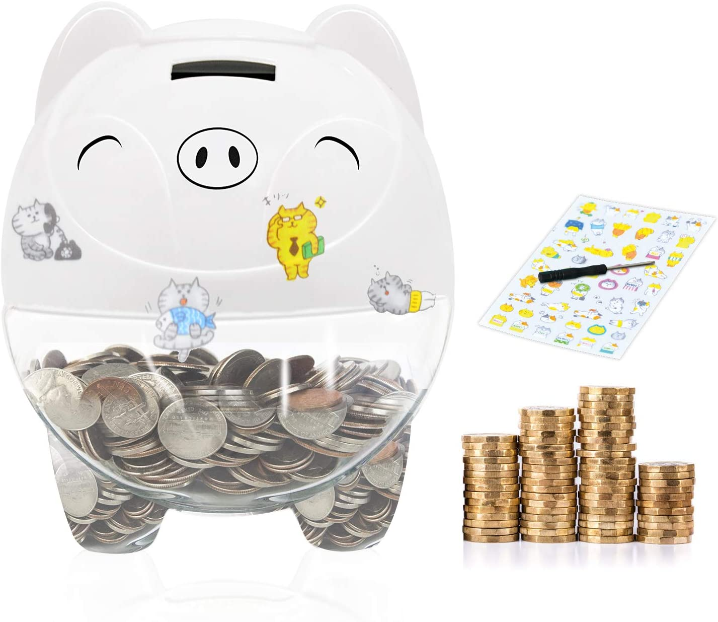 MOMMED Digital Coin Bank Money Jar Birthday and New Year Piggy Bank Automatic Coin Counter for Kids Adults Boys Girls as Gift on Christmas Piggy Bank with LCD Display