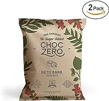 ChocZero's Keto Bark, Milk Chocolate Hazelnuts, 100% Stone-Ground, No Added Sugar, Low Carb, No Sugar Alcohols, Non-GMO (2 bags, 6 servings/each)