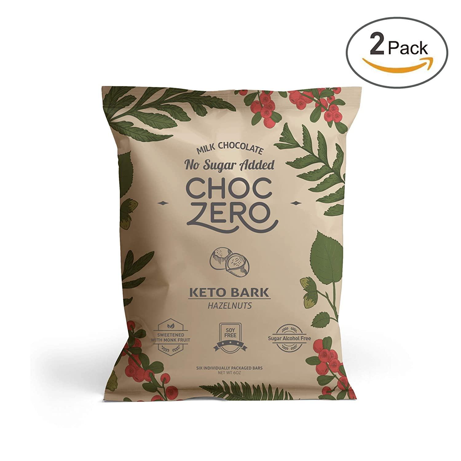 ChocZero's Keto Bark, Milk Chocolate Hazelnuts,